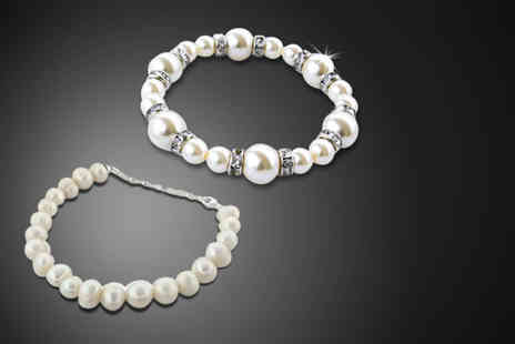 Simply 18K - Faux pearl or freshwater pearl bracelet - Save 89%
