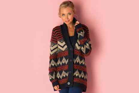 Getthelabel - QED London Womens Jacquard Cardigan - Save 63%