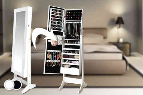 Perky Clothing - White or black jewellery cabinet with full length mirror - Save 58%