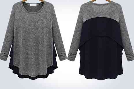 Accessories Town - Stylish layered grey and black ladies swing top - Save 50%