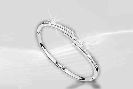 Simply Jewellery - Elegant silver plated cuff bangle - Save 75%