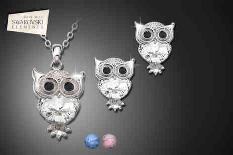 Zoo Jewellery - Swarovski Elements owl pendant and earring set - Save 86%
