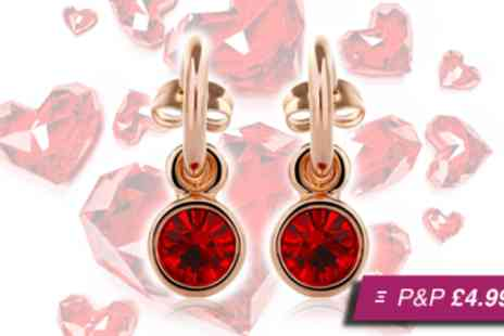 Sally Met Harry - Pair of ruby red gold hoop earrings made with Swarovski crystals - Save 59%