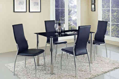 Furniture Detail - Four Seater Glass Dining Table with Four Chairs - Save 62%