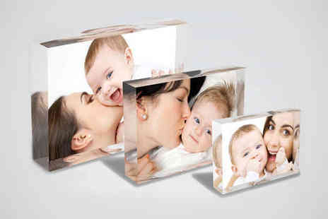 1ClickPrint - Three Personalised Free-Standing Acrylic Photo Blocks - Save 75%