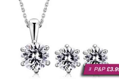 Essential Silver - Sterling silver Sparkle set made with Swarovski elements - Save 75%