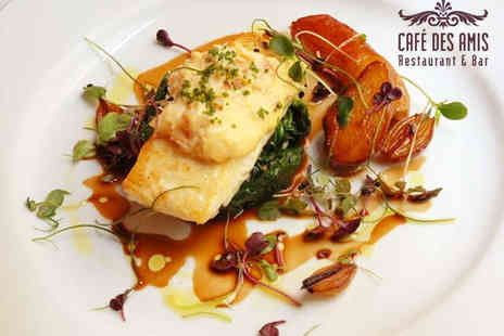 Cafe Des Amis - Starter Main Course and Glass of Wine Each for Two People - Save 54%