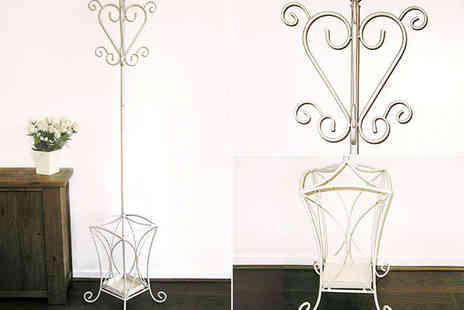 Garden Games - Wrought Iron Coat Stand in Cream - Save 67%