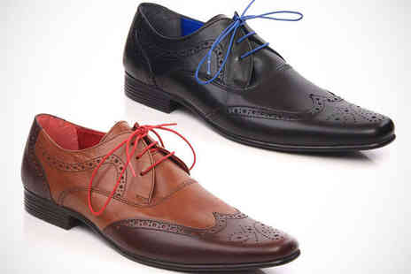 Unze - Mens Leather Brogues in Brown or Black - Save 51%
