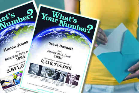 Whats Your Number Baby ? - Certificate as an instantly downloadable PDF or printed certificate  - Save 75%