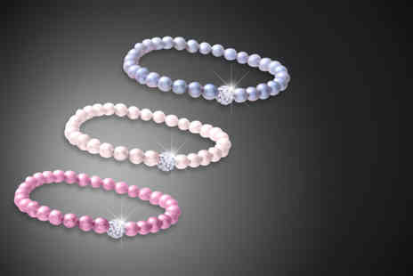 The Gem Seller - Three pearl bracelets featuring a crystal ball - Save 84%
