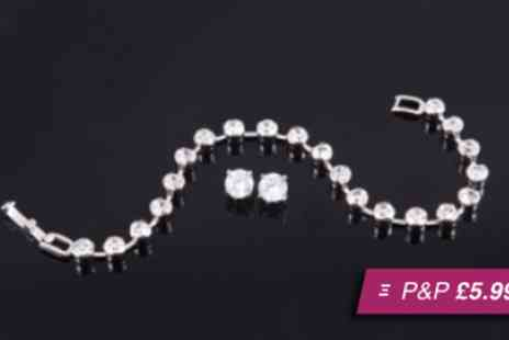 Amelia Zahara - Tennis bracelet and solitaire earring set - Save 90%