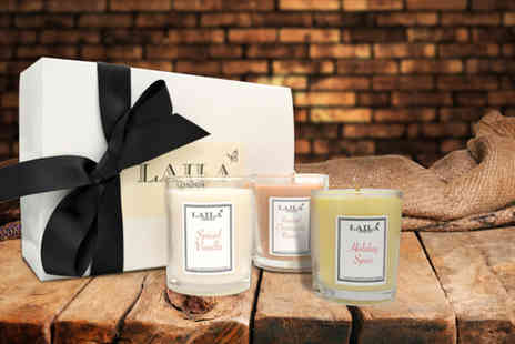 Laila London - Three luxury soy gift candles in a choice of fragrances - Save 57%