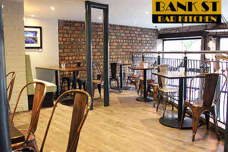 Bank Street Bar Kitchen - Two Course Meal for Two with a Cocktail Bottle of Beer or Glass of Wine Each for Two  - Save 56%