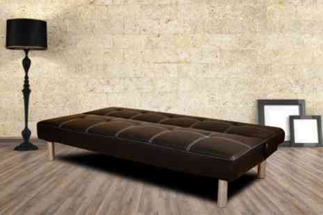 Furniture Deals - Cancun faux leather three seater sofa bed in black or brown - Save 66%