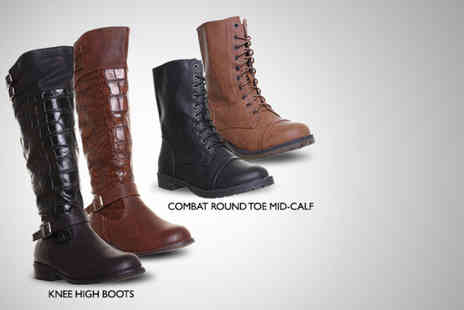 4Feet Retail - Pair of Salt and Pepper military combat or knee high boots - Save 47%
