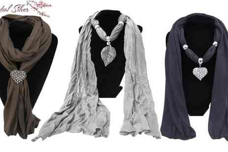 Essential Silver - Ladies Elegant Pendant Scarf - Save 47%