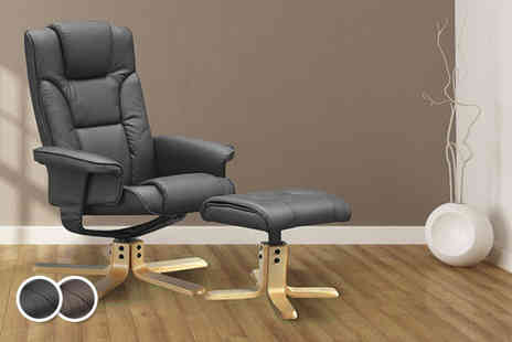 Panoply Furnishings - Faux leather Boston recliner swivel chair and footstool in black or brown - Save 65%