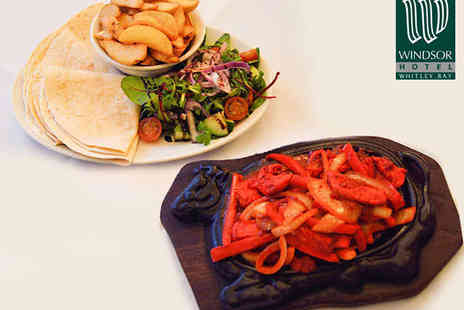 Windsor Hotel - Sizzling Skillet Fajita Platter with Potato Wedges and Salad and a Drink Each for Two