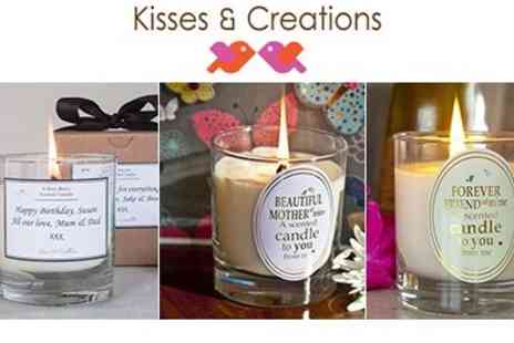 Kisses and Creations - Scented Candles with Personalised Message - Save 50%