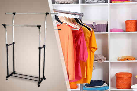 Amir - Adjustable stainless steel single clothes rail - Save 0%