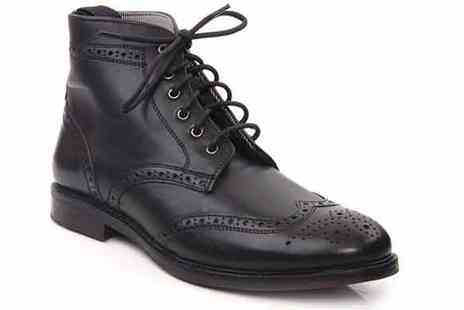 Unze - Mens Leather Brogues Lace Up Ankle Boots - Save 49%