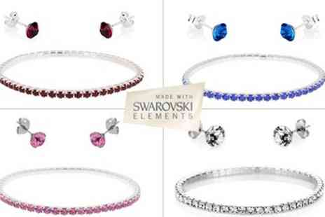 Diamond Style - Four Stunning Swarovski Elements Bracelets with matching Stud Earrings- - Save 46%
