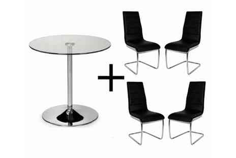 Furniture Deals - Lucia Glass Dining Table plus 4 Persona Chairs - Save 58%