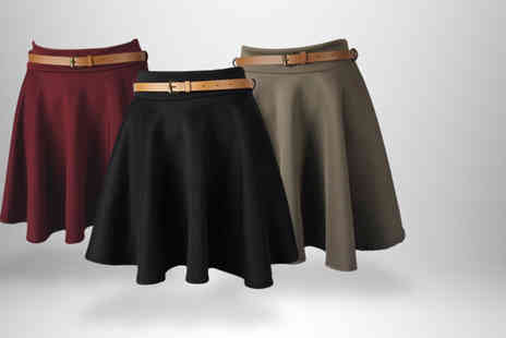 Something About Fashion - Belted skater skirt in black coral mocha wine or red - Save 50%