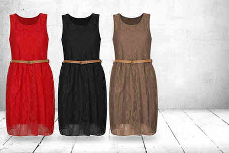 Something About Fashion - Floral lace skater dress in a choice of 7 colours - Save 50%
