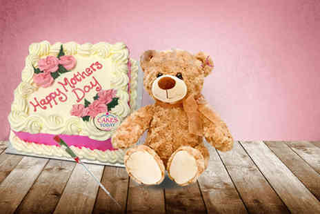 Cakes Today - Mothers Day package including a handmade cake delivery, a teddy and a silk rose - Save 56%