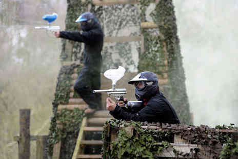 Bedlam Paintball - Full Day Paintball Experience with 100 Pellets, Lunch, and Equipment Hire for Two  - Save 93%