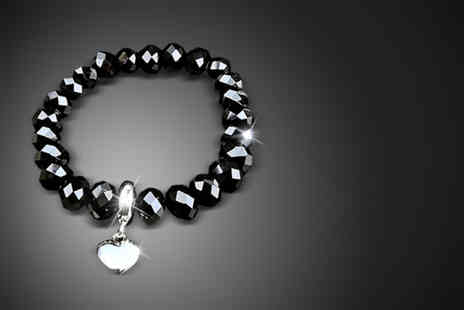 Get Tingbling - Black or silver crystal heart bracelet - Save 90%