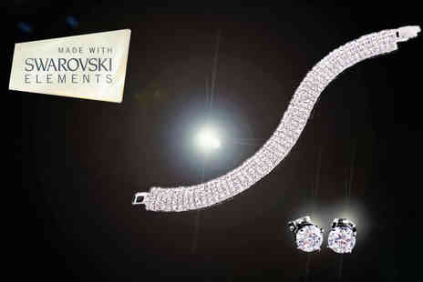 Platinum Bay Group - Swarovski Elements Jewellery Set with Bracelet and Earrings - Save 83%