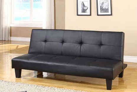 Grampian Furnishers - Las Vegas Black Faux Leather Sofa Bed - Save 56%