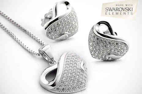 Chainz Jewellery - 18K White Gold Plated Necklace and Earring Set  - Save 63%
