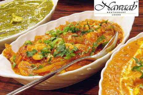 Nawaab Restaurant - Appetiser of Popadoms and Pickle Tray Followed by a Fine Dining Two Course Indian Banquet Including Starter and Main Course - Save 58%