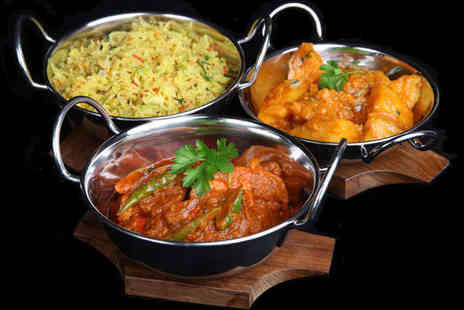 Papadoms Brick Lane - Starter, Main and Side Dish Each with a Glass of Wine for Two  - Save 60%