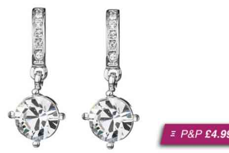 Crystal Crush - Pair of white gold plated crystal drop earrings - Save 94%