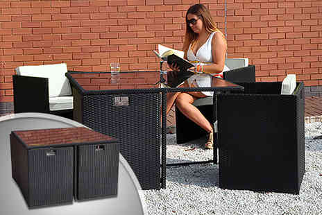 Kingfisher - Black rattan outdoor dining table and cube chair set  - Save 50%