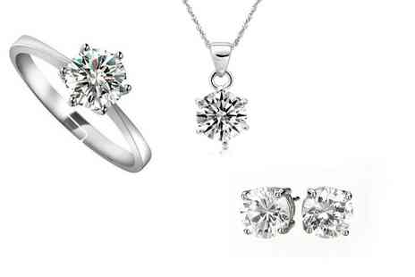 Platinum Bay Group - Three Piece Solitaire Jewellery Set  - Save 82%