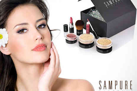 Sampure Minerals - Mineral Make Up Set Including Foundation, Powder, Blusher, Eye Shadow, Lipstick, Gloss, and Brush - Save 77%