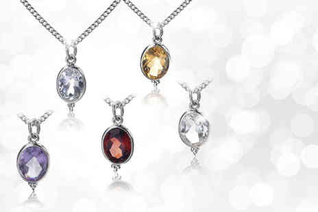 Zoo Jewellery - Sterling silver birthstone gem drop pendant necklace  - Save 80%