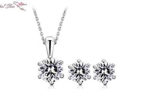 Essential Silver - Sterling Silver Jewellery Set made with Swarovski Elements - Save 80%