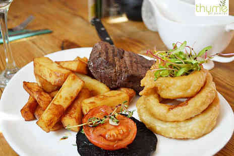 Thyme At Bawtry - Premium 8oz Fillet Steak Meal with a Glass of Prosecco Each for Two  - Save 52%