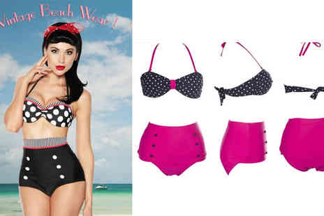 Xyte - Ladies High Waisted Vintage Pin Up Style Swimsuit - Save 70%