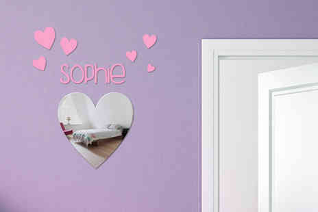 Mungai Mirrors - Ppersonalised heart or butterfly mirror with matching stickers - Save 58%
