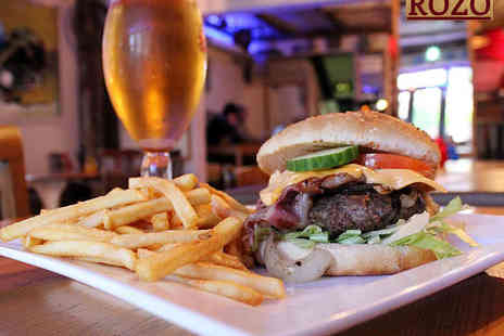 Rozo - Beef or Chicken Burger Fries and a Glass of Wine or Pint of Beer Each for Two - Save 50%