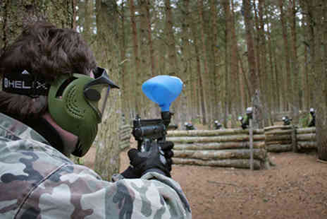 Allout Paintball - Full day of paintballing for up to 6 people including lunch and 100 paintballs - Save 92%
