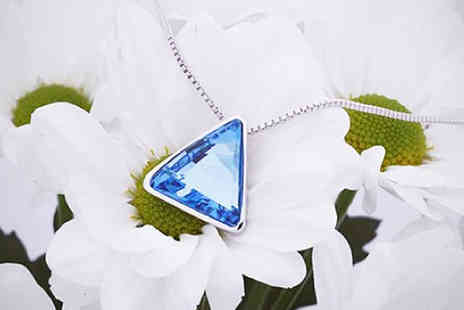Sally Met Harry - Blue Crystal Triangle Necklace with Swarovski Elements - Save 65%